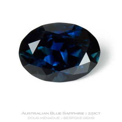 Blue Sapphire, Oval, Rubyvale, Central Queensland, Australia, 2.51 Carats, 9.88X7.25x4.93mm, #12112-39, A beautiful natural Blue Sapphire from the Australian sapphire gemfields. Doug Menadue :: Bespoke Gems :: WWW.BESPOKE-GEMS.COM - Finest Precision Custom Gemcutting Based In Sydney Australia