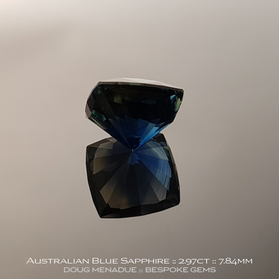 Blue Sapphire, Square Cushion, Rubyvale, Central Queensland, Australia, 2.97 Carats, 7.84X7.81X5.46mm, #12112-40, A beautiful natural Blue Sapphire from the Australian sapphire gemfields. Doug Menadue :: Bespoke Gems :: WWW.BESPOKE-GEMS.COM - Finest Precision Custom Gemcutting Based In Sydney Australia