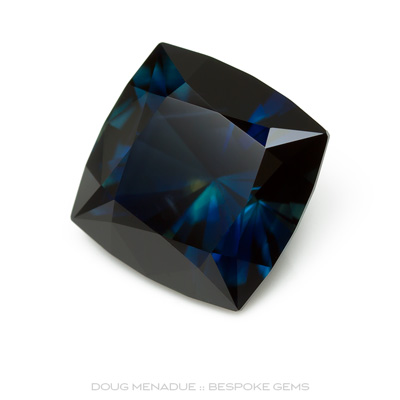 Blue Parti Sapphire, Square Cushion, Scrub Lead, Rubyvale, Central Queensland, Australia, 6.78 Carats, 10.25X10.26X7.31mm, #12112-5, A beautiful natural Blue Parti Sapphire from the Australian sapphire gemfields. Doug Menadue :: Bespoke Gems :: WWW.BESPOKE-GEMS.COM - Finest Precision Custom Gemcutting Based In Sydney Australia
