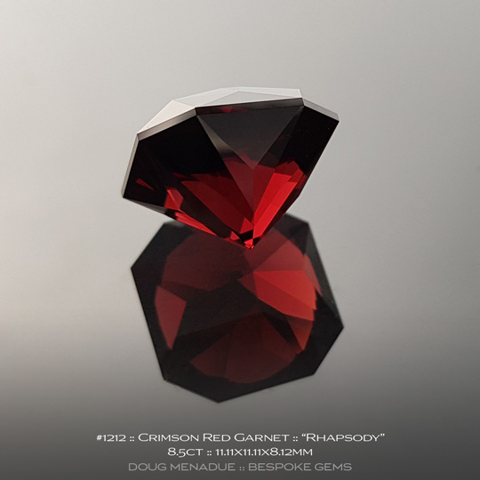 #1212, Garnet, Rhapsody, 8.5 Carats, 13.16X13.11X10.41mm, Crimson Red - A beautiful natural Garnet from the gemfields of Africa - Doug Menadue :: Bespoke Gems :: WWW.BESPOKE-GEMS.COM - Finest Quality Precision Custom Gemcutting and Lapidary Services Based In Sydney Australia
