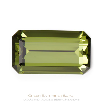 Green Sapphire, Emerald Cut, Rubyvale, Central Queensland, Australia, 8.07 Carats, 14.84X8.26X6.17mm, #121262, A beautiful natural Green Sapphire from the Australian sapphire gemfields. Doug Menadue :: Bespoke Gems :: WWW.BESPOKE-GEMS.COM - Finest Precision Custom Gemcutting Based In Sydney Australia