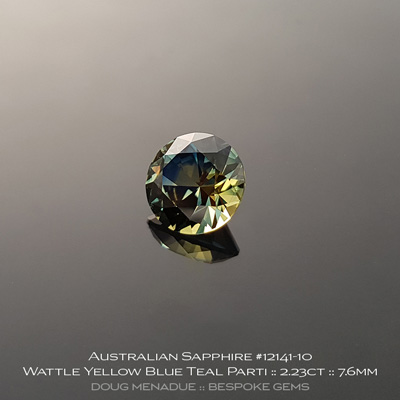 #12141-10, Australian Sapphire, Round Brilliant, 2.23 Carats, 7.6x7.6x5.06mm, Wattle Yellow Blue Teal Parti - A beautiful natural Australian Sapphire from the gemfields around Rubyvale, Central Queensland, Australia - Doug Menadue :: Bespoke Gems :: WWW.BESPOKE-GEMS.COM - Finest Quality Precision Custom Gemcutting and Lapidary Services Based In Sydney Australia