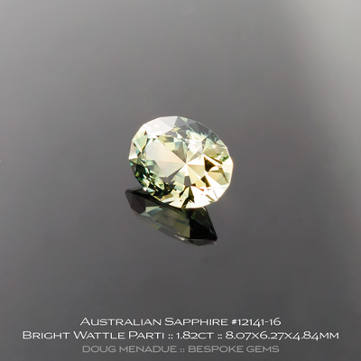 12141-16, Australian Sapphire, Supernova Oval, 2.45 Carats, 8.07x6.27x4.84mm, Bright Wattle Green Bronze - A beautiful natural Australian Sapphire from the gemfields around Rubyvale, Central Queensland, Australia - Doug Menadue :: Bespoke Gems :: WWW.BESPOKE-GEMS.COM - Finest Quality Precision Custom Gemcutting and Lapidary Services Based In Sydney Australia
