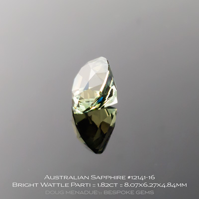 #12141-16, Australian Sapphire, Supernova Oval, 2.45 Carats, 8.07x6.27x4.84mm, Bright Wattle Yellow Teal Parti - A beautiful natural Australian Sapphire from the gemfields around Rubyvale, Central Queensland, Australia - Doug Menadue :: Bespoke Gems :: WWW.BESPOKE-GEMS.COM - Finest Quality Precision Custom Gemcutting and Lapidary Services Based In Sydney Australia