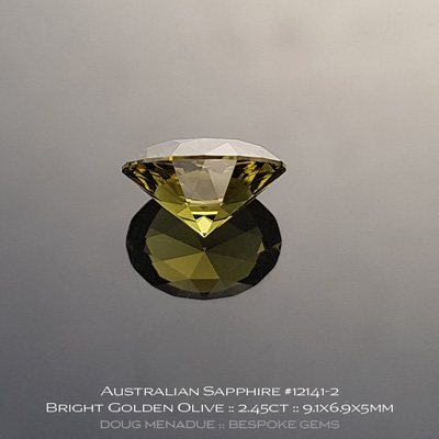 12141-2, Australian Sapphire, Supernova Oval, 2.45 Carats, 9.1X6.9X5mm, Bright Golden Olive - A beautiful natural Australian Sapphire from the gemfields around Rubyvale, Central Queensland, Australia - Doug Menadue :: Bespoke Gems :: WWW.BESPOKE-GEMS.COM - Finest Quality Precision Custom Gemcutting and Lapidary Services Based In Sydney Australia