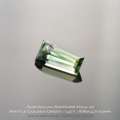 12141-22, Australian Sapphire, Tapered Baguette, 1.40 Carats, 8.89x4.7x3.3mm, Bright Wattle Golden Green - A beautiful natural Australian Sapphire from the gemfields around Rubyvale, Central Queensland, Australia - Doug Menadue :: Bespoke Gems :: WWW.BESPOKE-GEMS.COM - Finest Quality Precision Custom Gemcutting and Lapidary Services Based In Sydney Australia