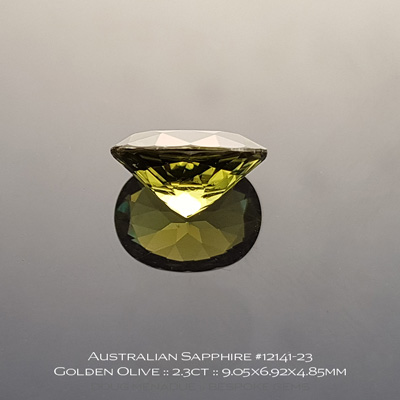 #12141-23, Australian Sapphire, Oval, 2.30 Carats, 9.05x6.92x4.85mm, Golden Olive - A beautiful natural Australian Sapphire from the gemfields around Rubyvale, Central Queensland, Australia - Doug Menadue :: Bespoke Gems :: WWW.BESPOKE-GEMS.COM - Finest Quality Precision Custom Gemcutting and Lapidary Services Based In Sydney Australia