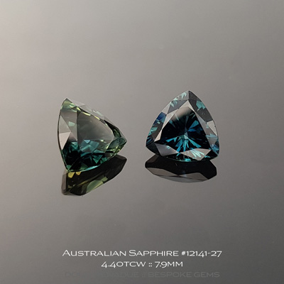 12141-27, Australian Sapphire, Trillion Pair, 4.40 Carats, 7.95x7.95x4.79, 7.96x7.92x4.52mm, Blue Green Teal - A beautiful natural Australian Sapphire from the gemfields around Rubyvale, Central Queensland, Australia - Doug Menadue :: Bespoke Gems :: WWW.BESPOKE-GEMS.COM - Finest Quality Precision Custom Gemcutting and Lapidary Services Based In Sydney Australia