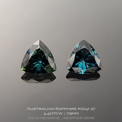 #12141-27, Australian Sapphire, Trillion Pair, 4.40 Carats, 7.95x7.95x4.79, 7.96x7.92x4.52mm, Blue Green Teal - A beautiful natural Australian Sapphire from the gemfields around Rubyvale, Central Queensland, Australia - Doug Menadue :: Bespoke Gems :: WWW.BESPOKE-GEMS.COM - Finest Quality Precision Custom Gemcutting and Lapidary Services Based In Sydney Australia