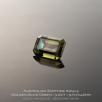 12141-4, Australian Sapphire, Emerald Cut, 3.21 Carats, 9.7X7X4.6mm, Golden Olive Green - A beautiful natural Australian Sapphire from the gemfields around Rubyvale, Central Queensland, Australia - Doug Menadue :: Bespoke Gems :: WWW.BESPOKE-GEMS.COM - Finest Quality Precision Custom Gemcutting and Lapidary Services Based In Sydney Australia