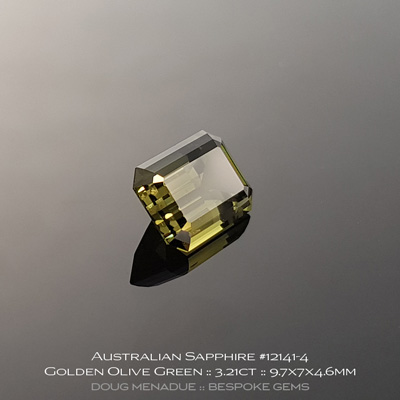 #12141-4, Australian Sapphire, Emerald Cut, 3.21 Carats, 9.7X7X4.6mm, Golden Olive Green - A beautiful natural Australian Sapphire from the gemfields around Rubyvale, Central Queensland, Australia - Doug Menadue :: Bespoke Gems :: WWW.BESPOKE-GEMS.COM - Finest Quality Precision Custom Gemcutting and Lapidary Services Based In Sydney Australia