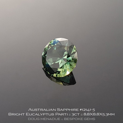 12141-5, Australian Sapphire, Round Brilliant, 3 Carats, 8.8X8.8X5.3mm, Bright Eucalyptus Teal Parti - A beautiful natural Australian Sapphire from the gemfields around Rubyvale, Central Queensland, Australia - Doug Menadue :: Bespoke Gems :: WWW.BESPOKE-GEMS.COM - Finest Quality Precision Custom Gemcutting and Lapidary Services Based In Sydney Australia