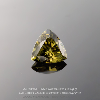 12141-7, Australian Sapphire, Trillion, 2.17 Carats, 8X8X4.5mm, Golden Olive (Colour Change) - A beautiful natural Australian Sapphire from the gemfields around Rubyvale, Central Queensland, Australia - Doug Menadue :: Bespoke Gems :: WWW.BESPOKE-GEMS.COM - Finest Quality Precision Custom Gemcutting and Lapidary Services Based In Sydney Australia