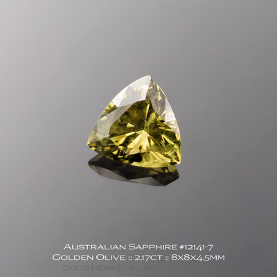 #12141-7, Australian Sapphire, Trillion, 2.17 Carats, 8X8X4.5mm, Golden Olive (Colour Change) - A beautiful natural Australian Sapphire from the gemfields around Rubyvale, Central Queensland, Australia - Doug Menadue :: Bespoke Gems :: WWW.BESPOKE-GEMS.COM - Finest Quality Precision Custom Gemcutting and Lapidary Services Based In Sydney Australia