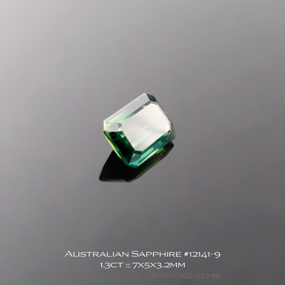 #12141-9, Australian Sapphire, Emerald Cut, 1.30 Carats, 7X5X3.2mm, Blue Teal - A beautiful natural Australian Sapphire from the gemfields around Rubyvale, Central Queensland, Australia - Doug Menadue :: Bespoke Gems :: WWW.BESPOKE-GEMS.COM - Finest Quality Precision Custom Gemcutting and Lapidary Services Based In Sydney Australia