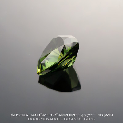 #12146-2, Australian Sapphire, Trillion, 4.77 Carats, 10.5X10.47X6.17mm, Green - A beautiful natural Australian Sapphire from the gemfields around Rubyvale, Central Queensland, Australia - Doug Menadue :: Bespoke Gems :: WWW.BESPOKE-GEMS.COM - Finest Quality Precision Custom Gemcutting and Lapidary Services Based In Sydney Australia