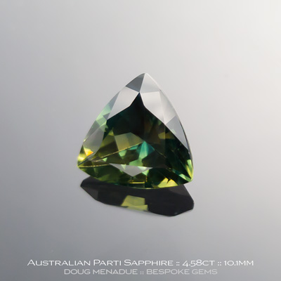 #12146-3, Australian Sapphire, Trillion, 4.58 Carats, 10.14X10.24X6.20mm, Parti Colour Green Yellow - A beautiful natural Australian Sapphire from the gemfields around Rubyvale, Central Queensland, Australia - Doug Menadue :: Bespoke Gems :: WWW.BESPOKE-GEMS.COM - Finest Quality Precision Custom Gemcutting and Lapidary Services Based In Sydney Australia