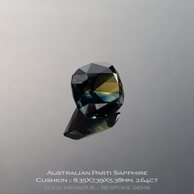 #12147-7, Australian Sapphire, Rectangle Cushion, 2.64 Carats, 8.35X7.39X5.38mm, Parti Colour - A beautiful natural Australian Sapphire from the gemfields around Rubyvale, Central Queensland, Australia - Doug Menadue :: Bespoke Gems :: WWW.BESPOKE-GEMS.COM - Finest Quality Precision Custom Gemcutting and Lapidary Services Based In Sydney Australia