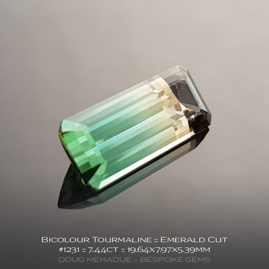 #1231, Tourmaline, Emerald Cut, 7.44 Carats, 13.16X13.11X10.41mm, Bicolour Peach Green - A beautiful natural Tourmaline from the gemfields of Africa - Doug Menadue :: Bespoke Gems :: WWW.BESPOKE-GEMS.COM - Finest Quality Precision Custom Gemcutting and Lapidary Services Based In Sydney Australia