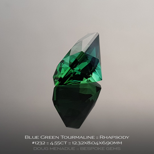 #1232, Tourmaline, Rhapsody, 4.55 Carats, 13.16X13.11X10.41mm, Blue Green - A beautiful natural Tourmaline from the gemfields of Africa - Doug Menadue :: Bespoke Gems :: WWW.BESPOKE-GEMS.COM - Finest Quality Precision Custom Gemcutting and Lapidary Services Based In Sydney Australia