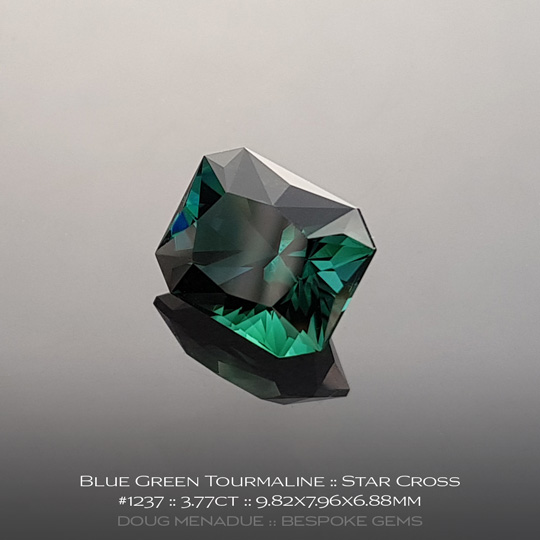 #1237, Blue Green Tourmaline, Star Cross, 3.77 Carats, 13.16X13.11X10.41mm - A beautiful natural African Tourmaline - Doug Menadue :: Bespoke Gems - WWW.BESPOKE-GEMS.COM - Precision Gemcutting and Lapidary Services In Sydney Australia