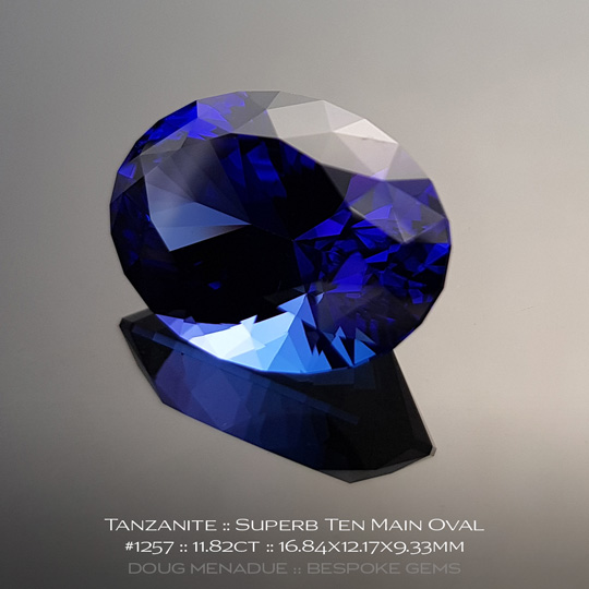 #1257, Blue Purple Tanzanite, Superb Ten Main Oval, 11.82 Carats, 13.16X13.11X10.41mm - A beautiful natural Tanzanian Tanzanite - Doug Menadue :: Bespoke Gems - WWW.BESPOKE-GEMS.COM - Precision Gemcutting and Lapidary Services In Sydney Australia