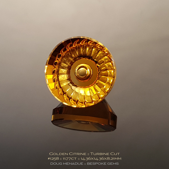 #1258, Golden Yellow Citrine, Turbine, 11.77 Carats, 13.16X13.11X10.41mm - Doug Menadue :: Bespoke Gems - WWW.BESPOKE-GEMS.COM - Precision Gemcutting and Lapidary Services In Sydney Australia