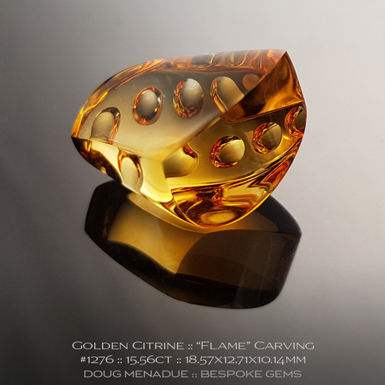 #1276, Golden Yellow Golden Citrine, Flame Carving, 15.56 Carats, 13.16X13.11X10.41mm - A beautiful natural Braziln Golden Citrine - Doug Menadue :: Bespoke Gems - WWW.BESPOKE-GEMS.COM - Precision Gemcutting and Lapidary Services In Sydney Australia