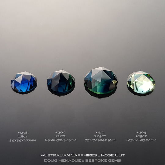#1298, #1300 #1301, #1304, Blue Green Sapphire, Rose Cut, 2.03 Carats, 13.16X13.11X10.41mm - A beautiful natural Rubyvale, Central Queensland, Australian Sapphire - Doug Menadue :: Bespoke Gems - WWW.BESPOKE-GEMS.COM - Precision Gemcutting and Lapidary Services In Sydney Australia