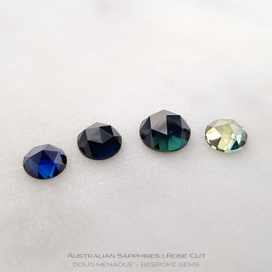 #1298, #1300 #1298, #1300 #1301, #1304, #1304, Blue Sapphire, Rose Cut, 0.8 Carats, 13.16X13.11X10.41mm - A beautiful natural Rubyvale, Central Queensland, Australian Sapphire - Doug Menadue :: Bespoke Gems - WWW.BESPOKE-GEMS.COM - Precision Gemcutting and Lapidary Services In Sydney Australia