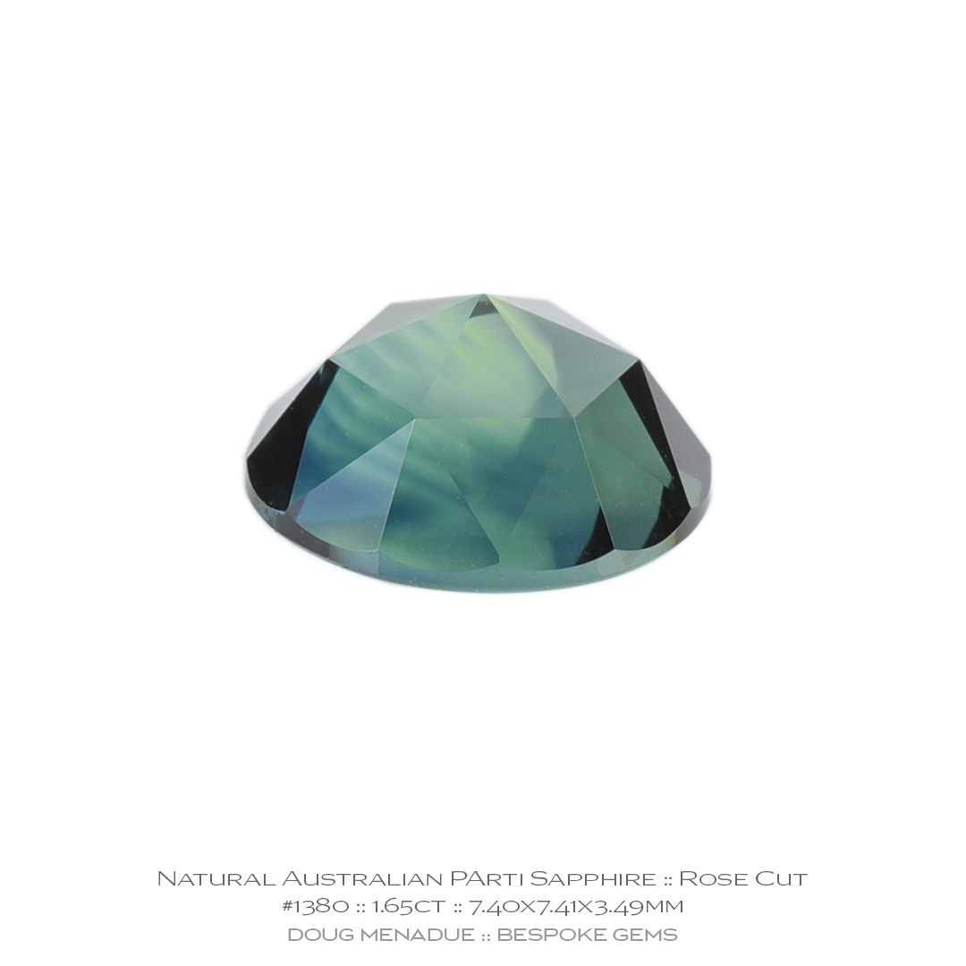 #1380, Yellow Green Blue Parti Sapphire, Rose Cut, 1.65 Carats, 13.16X13.11X10.41mm - Doug Menadue :: Bespoke Gems - WWW.BESPOKE-GEMS.COM - Precision Gemcutting and Lapidary Services In Sydney, Australia