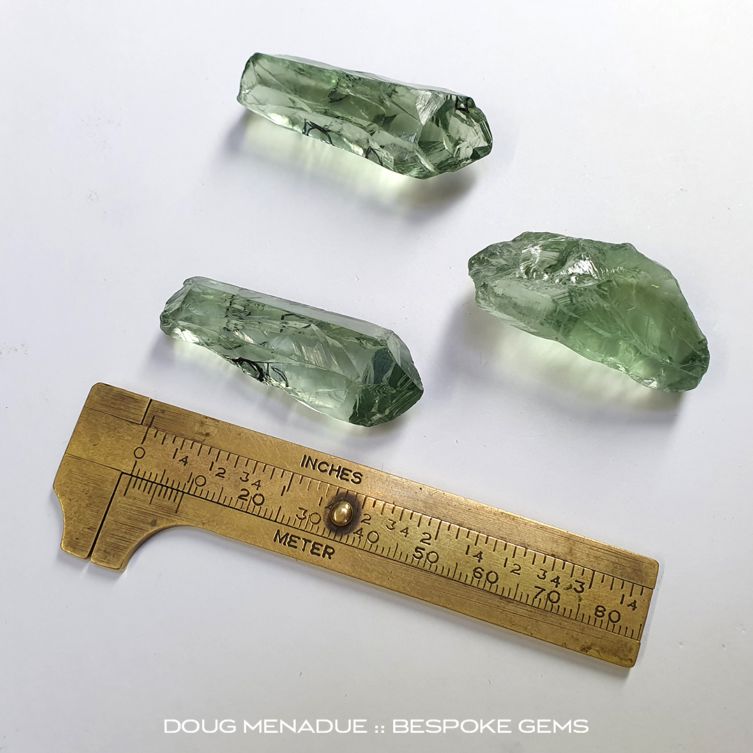#1391, Green Prasiolite, Suite of Carvings, Mixed Carats, Mixed mm - Doug Menadue :: Bespoke Gems - WWW.BESPOKE-GEMS.COM - Precision Gemcutting and Lapidary Services In Sydney, Australia