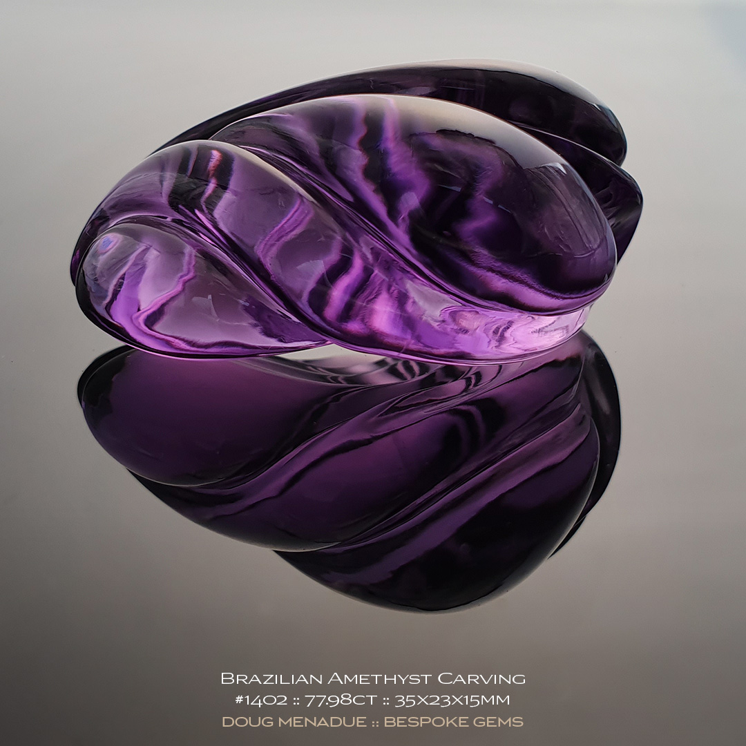 #1402, Purple Amethyst, Carving, 77.98 Carats, 13.16X13.11X10.41mm - Doug Menadue :: Bespoke Gems - WWW.BESPOKE-GEMS.COM - Precision Gemcutting and Lapidary Services In Sydney Australia
