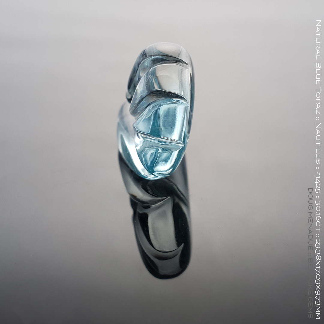 #1425, Blue Natural Blue Topaz, Nautilus Carving, 30.16 Carats, 13.16X13.11X10.41mm - Doug Menadue :: Bespoke Gems - WWW.BESPOKE-GEMS.COM - Precision Gemcutting and Lapidary Services In Sydney Australia