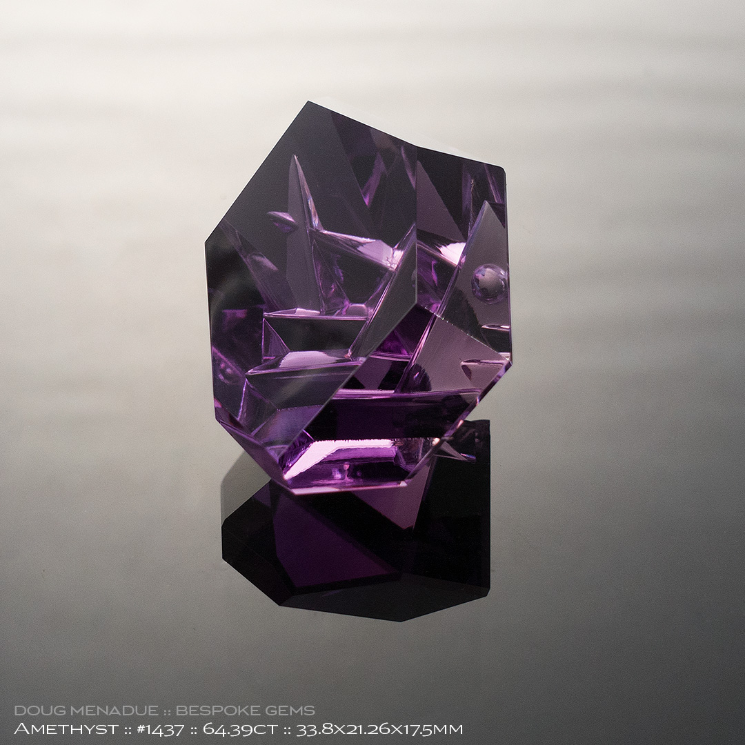 #1437, Purple Amethyst, Mixed Carving, 64.39 Carats, 13.16X13.11X10.41mm - Doug Menadue :: Bespoke Gems - WWW.BESPOKE-GEMS.COM - Precision Gemcutting and Lapidary Services In Sydney Australia