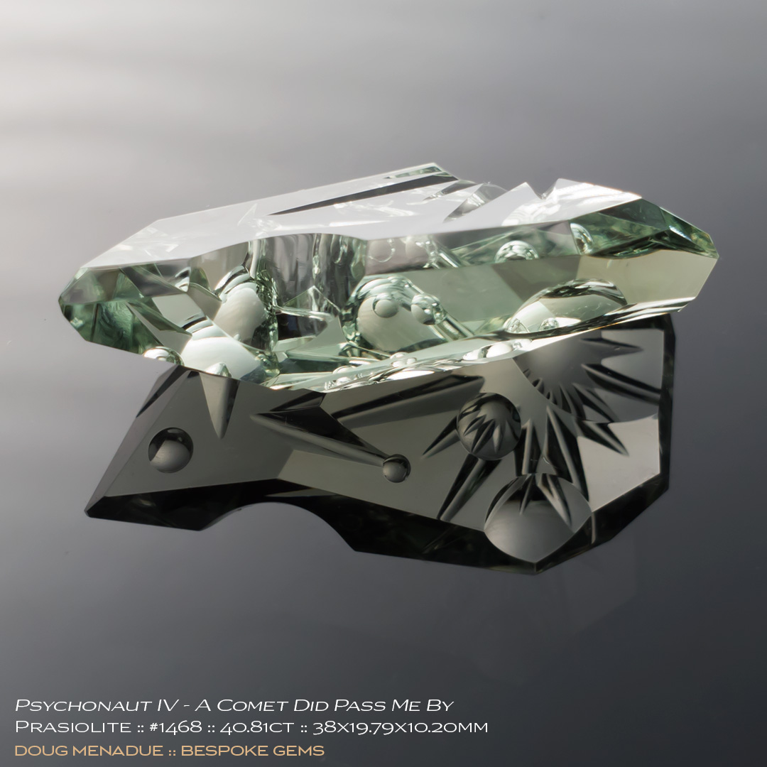 #1468, Green Prasiolite, Psychonaut IV - A Comet Did Pass Me By - Carving, 40.81 Carats, 13.16X13.11X10.41mm - Doug Menadue :: Bespoke Gems - WWW.BESPOKE-GEMS.COM - Precision Gemcutting and Lapidary Services In Sydney Australia