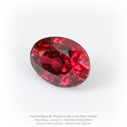 #150254, Pigeon Blood Red Ruby, Oval, 2.03 Carats, 13.16X13.11X10.41mm - A beautiful natural Mozambique ruby - Doug Menadue :: Bespoke Gems - WWW.BESPOKE-GEMS.COM - Precision Gemcutting and Lapidary Services In Sydney Australia