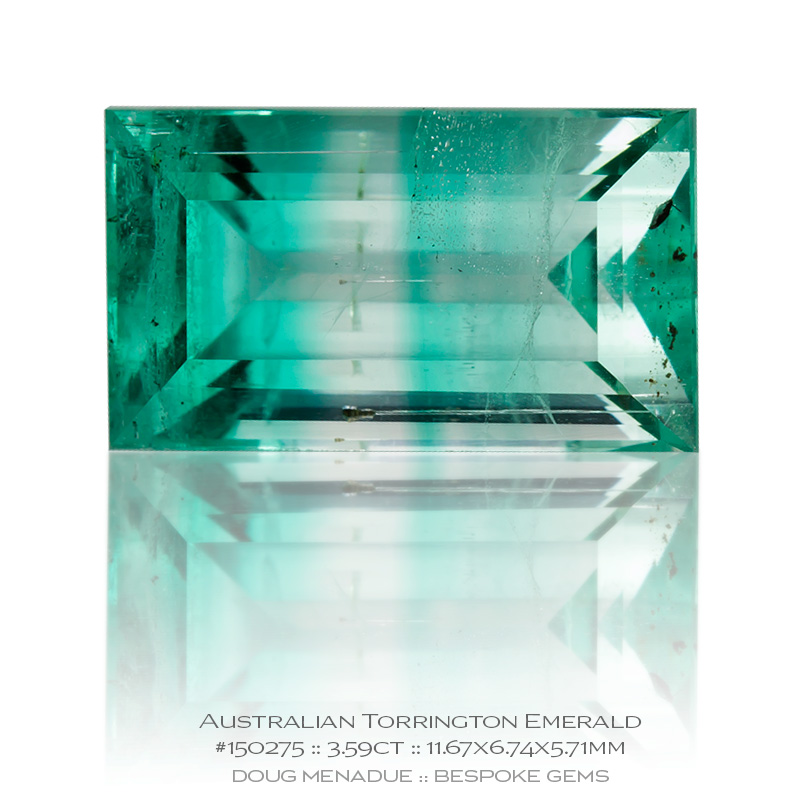 #150275, Mint Green Banded Emerald, Baguette, 3.59 Carats, 13.16X13.11X10.41mm - Doug Menadue :: Bespoke Gems - WWW.BESPOKE-GEMS.COM - Precision Gemcutting and Lapidary Services In Sydney Australia