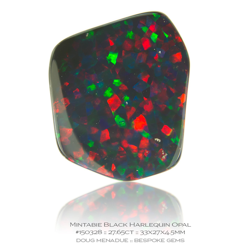 #150328, Red, Blue, Green Black Harlequin Opal, Fancy, 27.65 Carats, 13.16X13.11X10.41mm - Doug Menadue :: Bespoke Gems - WWW.BESPOKE-GEMS.COM - Precision Gemcutting and Lapidary Services In Sydney Australia