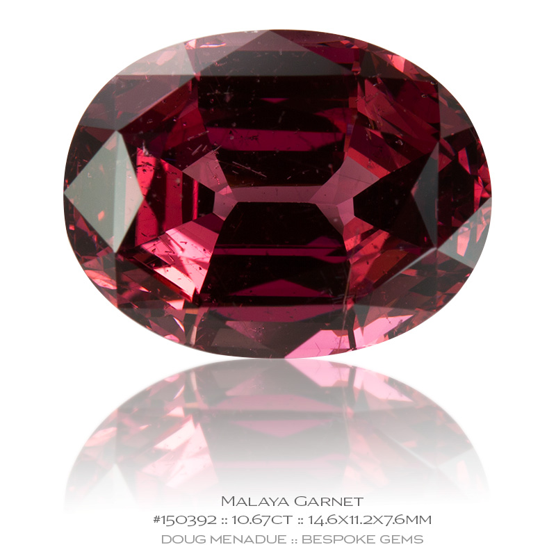 #150392, Pinkish Red Malaya Garnet, Oval, 10.67 Carats, 13.16X13.11X10.41mm - Doug Menadue :: Bespoke Gems - WWW.BESPOKE-GEMS.COM - Precision Gemcutting and Lapidary Services In Sydney Australia