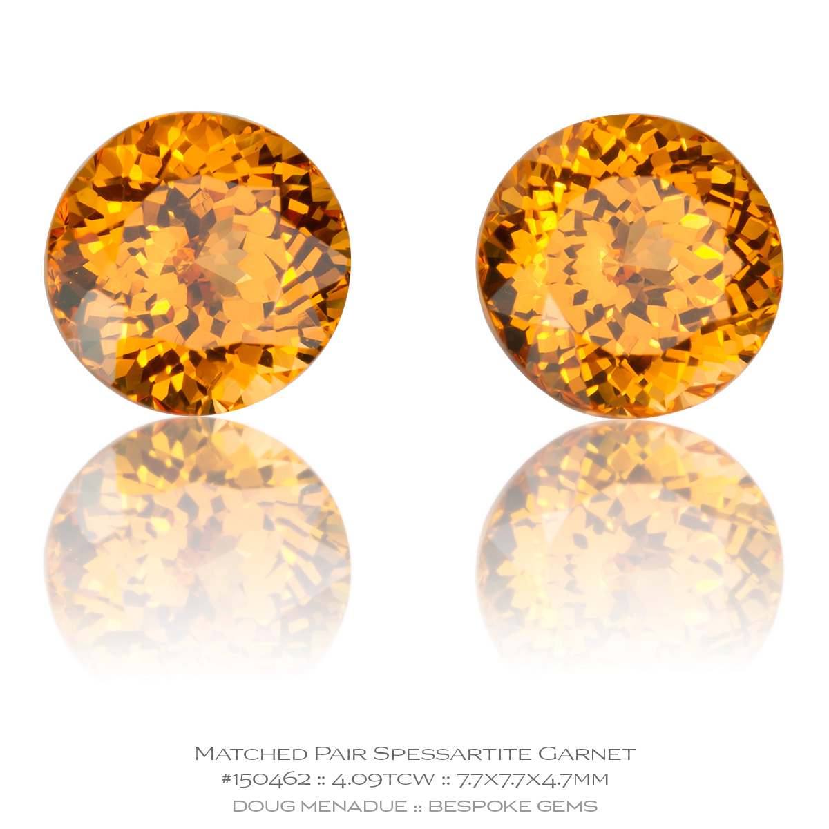 #150462, Orange Spessartite Garnet, Round Brilliant Matched Pair, 4.09 Carats, 13.16X13.11X10.41mm - Doug Menadue :: Bespoke Gems - WWW.BESPOKE-GEMS.COM - Precision Gemcutting and Lapidary Services In Sydney Australia