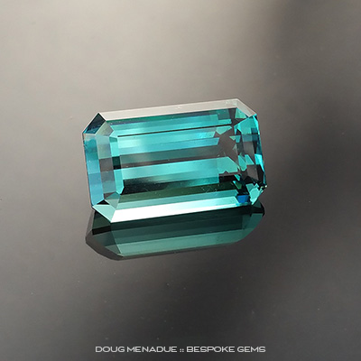 Indicolite Tourmaline, Emerald Cut, Afghanistan, #150488, 5.8 Carats, 13.21x8.12x6.56mm, This is one absolutely beautiful Afghan indicolite tourmaline. It is an excellent stone in every regard, the size is good with proportions in the phi ratio, the blue hue is devine and the cut is perfect. Doug Menadue :: Bespoke Gems