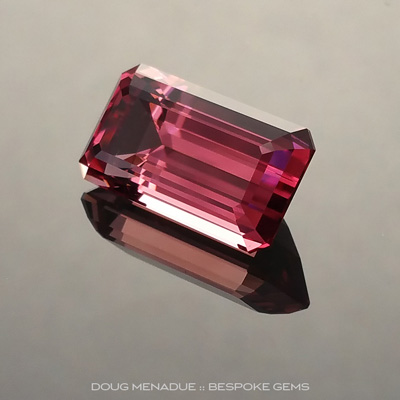 Pink Tourmaline, Emerald Cut, Brazil, #160522, 4.8 Carats, 13.21x7.23x6.09mm, This is a truly outstanding rich pink tourmaline from Brazil. The colour is absolutely amazing and if you like the pics you will love the gem. The stone is exceptional is every regard. Doug Menadue :: Bespoke Gems