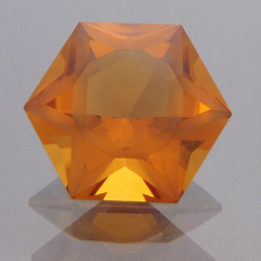 Citrine, Frosted Hexagram, #188 - Doug Menadue :: Bespoke Gems - Master gemcutter and lapidary artist specialising in fine custom cut precision gems from a wide range of select facet gem rough. Located in Sydney, Australia.