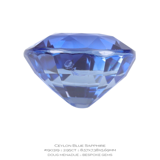 #190319, Blue Sapphire, Oval, 2.95 Carats, 13.16X13.11X10.41mm - A beautiful natural Ceylonn Sapphire - Doug Menadue :: Bespoke Gems - WWW.BESPOKE-GEMS.COM - Precision Gemcutting and Lapidary Services In Sydney Australia