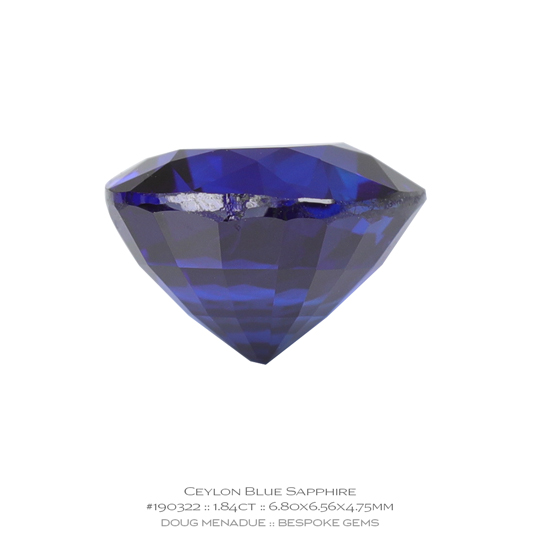 #190322, Blue Sapphire, Cushion, 1.84 Carats, 13.16X13.11X10.41mm - A beautiful natural Ceylonn Sapphire - Doug Menadue :: Bespoke Gems - WWW.BESPOKE-GEMS.COM - Precision Gemcutting and Lapidary Services In Sydney Australia