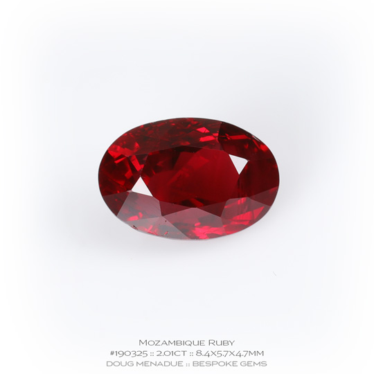 #190325, Red Ruby, Oval, 2.01 Carats, 13.16X13.11X10.41mm - A beautiful natural Mozambique Mozambique - Doug Menadue :: Bespoke Gems - WWW.BESPOKE-GEMS.COM - Precision Gemcutting and Lapidary Services In Sydney Australia