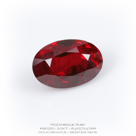 #190325, Red Ruby, Oval, 2.01 Carats, 13.16X13.11X10.41mm - A beautiful natural Mozambique ruby - Doug Menadue :: Bespoke Gems - WWW.BESPOKE-GEMS.COM - Precision Gemcutting and Lapidary Services In Sydney Australia