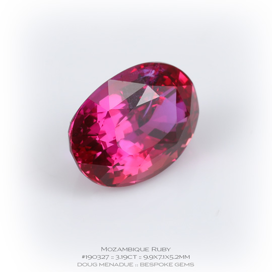 #190327, Pinkish Red Ruby, Oval, 3.19 Carats, 13.16X13.11X10.41mm - A beautiful natural Mozambique ruby - Doug Menadue :: Bespoke Gems - WWW.BESPOKE-GEMS.COM - Precision Gemcutting and Lapidary Services In Sydney Australia