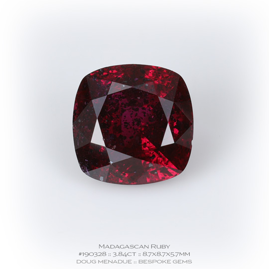 #190328, Red Ruby, Square Cushion, 3.84 Carats, 13.16X13.11X10.41mm - A beautiful natural Madagascar Madagascar - Doug Menadue :: Bespoke Gems - WWW.BESPOKE-GEMS.COM - Precision Gemcutting and Lapidary Services In Sydney Australia